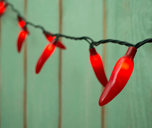 Chili Pepper String Lights, Red, 35 Peppers