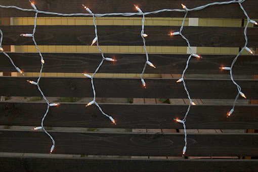 Warm White Icicle Lights, White Wire, 14.5 ft long