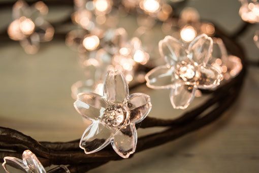Lighted Crystal Blossom Garland, 20 LEDs, Bendable, 40 in, Warm White