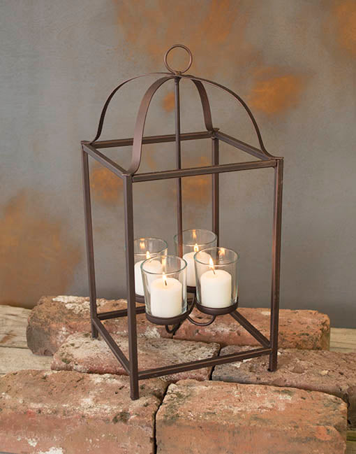 Hanging Chandelier for Votive Candles, rust colored