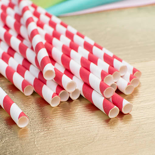 Paper Party Straws, Use in Jars Bottles Stripe, Pack of 24, Deep Red