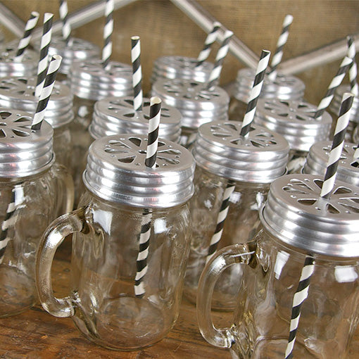 Our black striped straws are also available as a set, matched with Lidded Mason Jars!