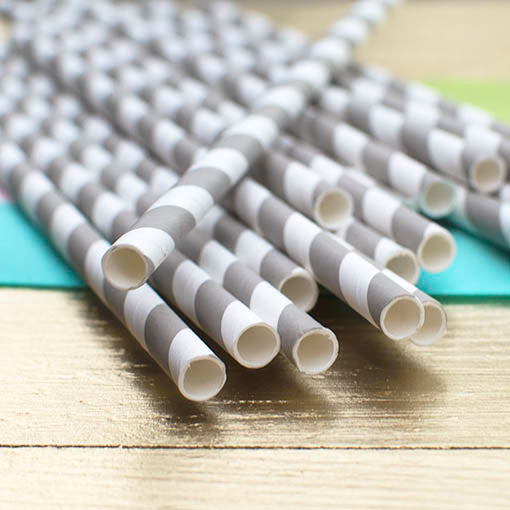 Paper Party Straws, Use in Jars or Bottles Stripe, Pack of 24, Taupe