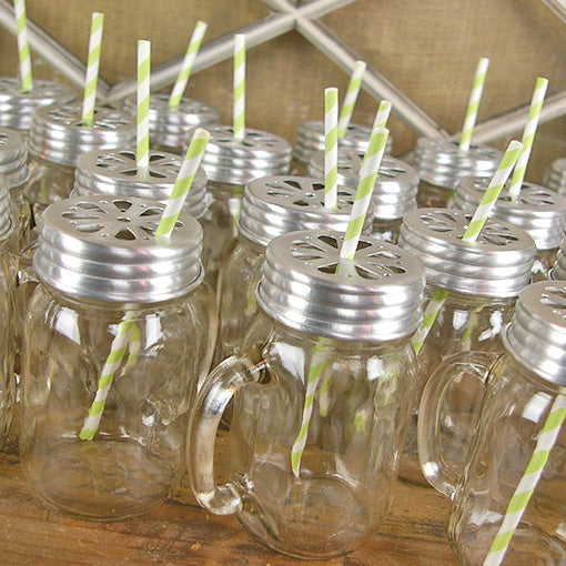 To make life even easier, buy pre-packaged sets of straws, lids and mason jar mugs!