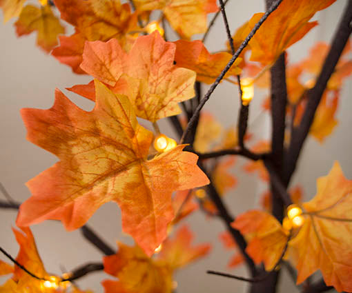 Each wide angle warm white LED light is capped with a spray of leaves for beautiful illumination on our lighted fall tree.