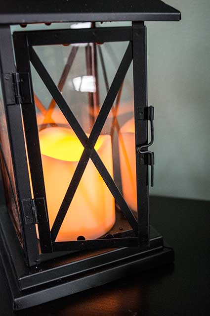 Black Crossbar Candle Lantern