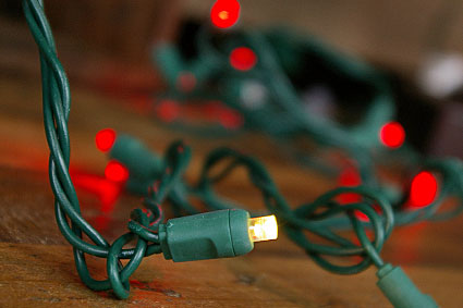 LED String Lights, 35 Red Wide Angle Bulbs, WARM WHITE TWINKLE