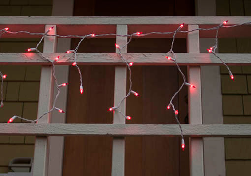 14.5 foot long white wire icicle lights with pink bulbs