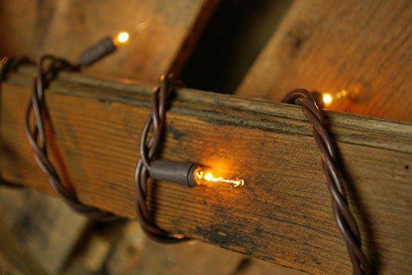 Commercial Grade String Lights, 50 Mini Bulbs, 20.5 ft. Brown Wire, Plug In