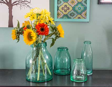 Green Bubble Glass Vases