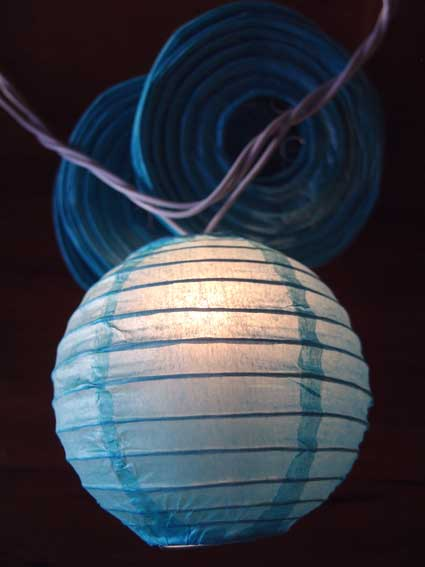4 Inch Turquoise Lantern String Lights