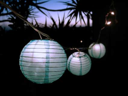 4 Inch Paper Lantern String Lights Turquoise