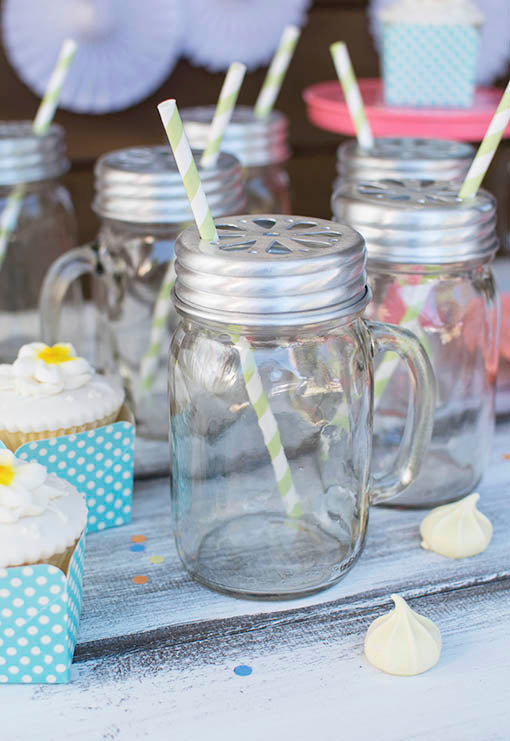 Mason Jar Drinking Mugs with Lid & Party Straws, Green, Set of 24