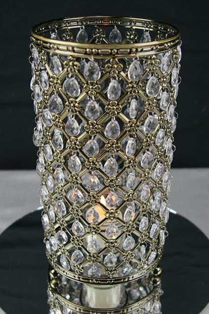 Crystal Candle Holder in Antique Gold
