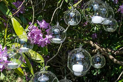 Hanging Glass Orb candle holder