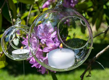 Hanging Glass Globe Tea Light Candle Holder