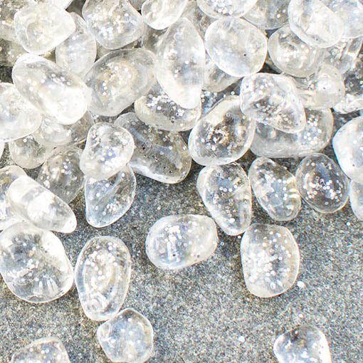 Glass Vase Filler, 4.6 lbs, Clear Glass Pebbles, Glitter, Silver