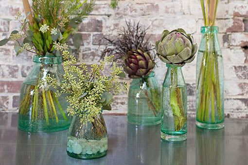 Grouping of Bubble Glass Milk Jug Vases