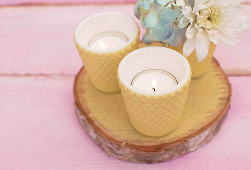 Small Yellow Hobnail Holder for Flowers or Candles