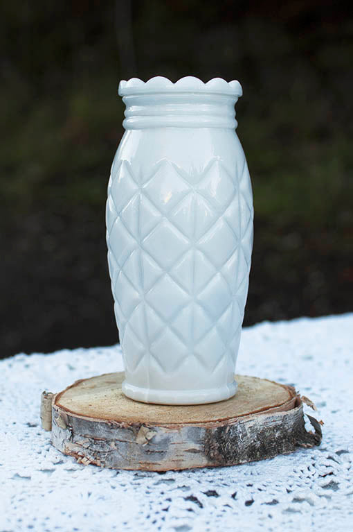Quilted Milk Glass Vase