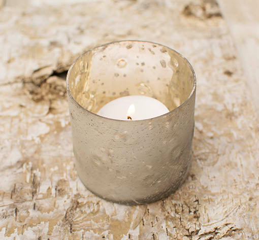 Our raku-style finished glass candle holder vases work equally well with votives or tea lights.