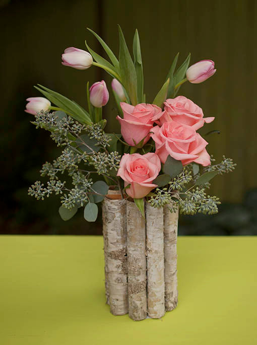 Natural Wood Container Vase
