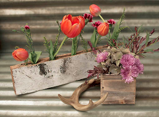 5 inch square whitewashed barn wood planter with whitewashed bud vase ensemble and faux antler