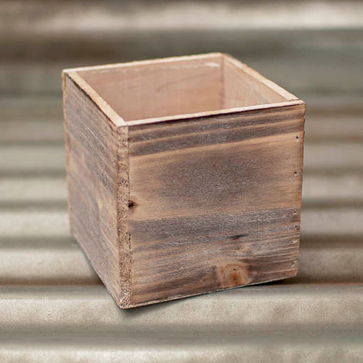 5 in. Whitewashed Planter Box, Natural Wood