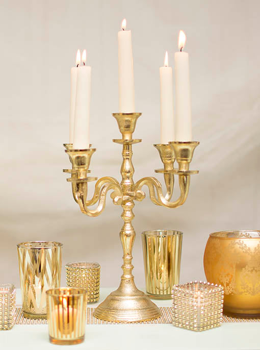 Gold Tone Candelabra, 5 Taper Candle Holder
