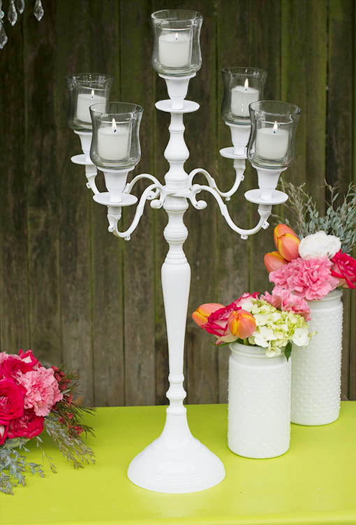 25 inch tall white candelabra with acrylic crystal drops