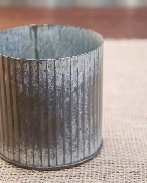 Weathered Galvanized Vase, 3.25 in tall