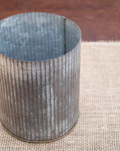 5.25 in. tall Corrugated Tin Vase