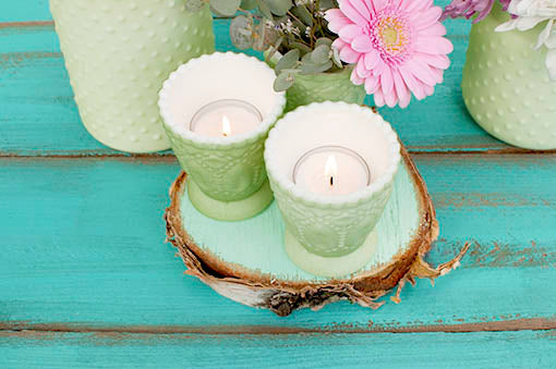 Pastel Green Heirloom Tea Light Holders with flowers or candles