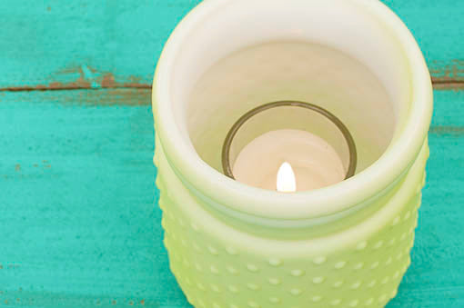 Pastel Green Hobnail as candle shelter