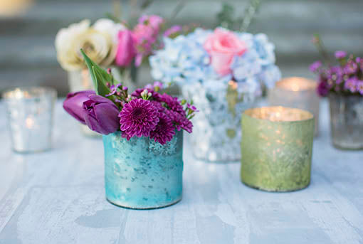 Our extraordinary matte glass votive candle holders combine beautifully with our full range of mercury glass decor.