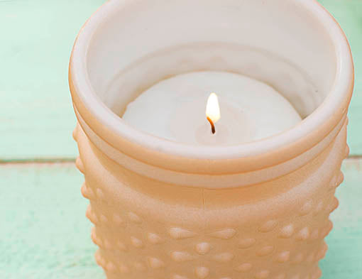 Pastel Orange Hobnail as pillar candle holder