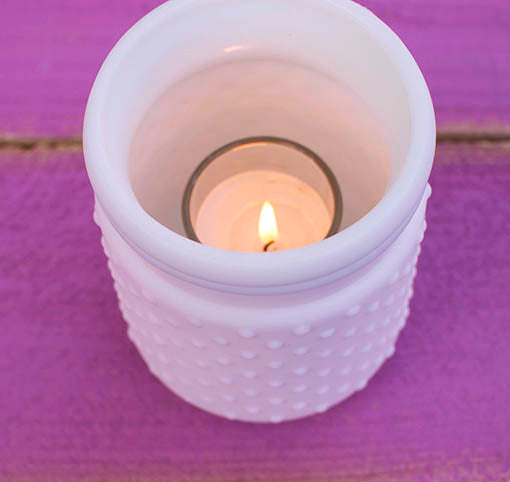 Pink Hobnail Vase with Candle