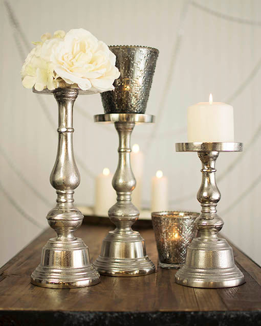 9.25 inch tall Silver Tone Pillar Candle Holder