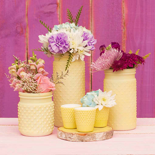 5.75in. Pastel Yellow Hobnail Vases