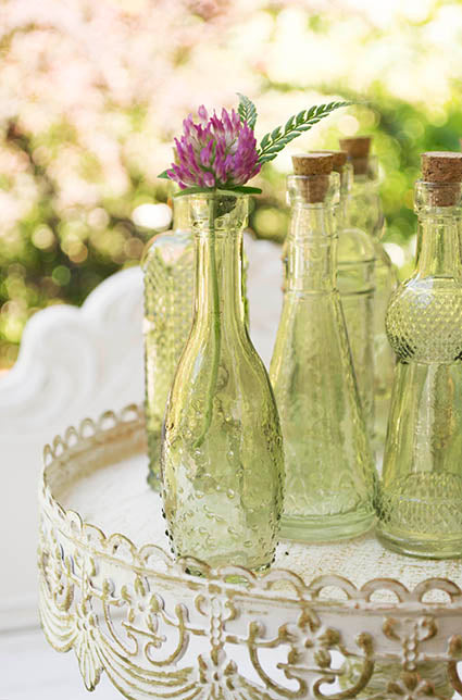 small vintage glass bottles, green