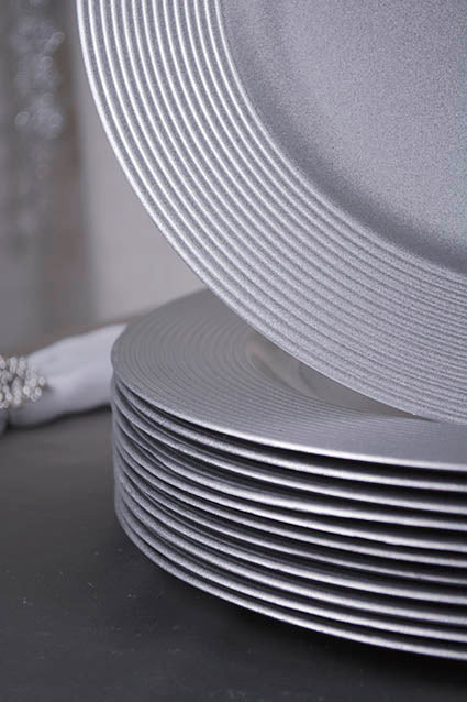 Grooved Edge Silver Charger Plates