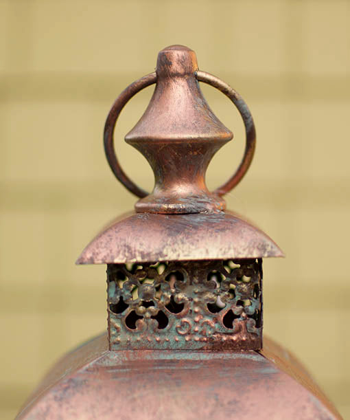 15.6 inch tall copper lantern with patina finish