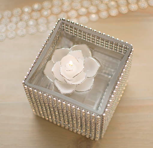 Floating White Flower Candle with Silver Glitter Trim