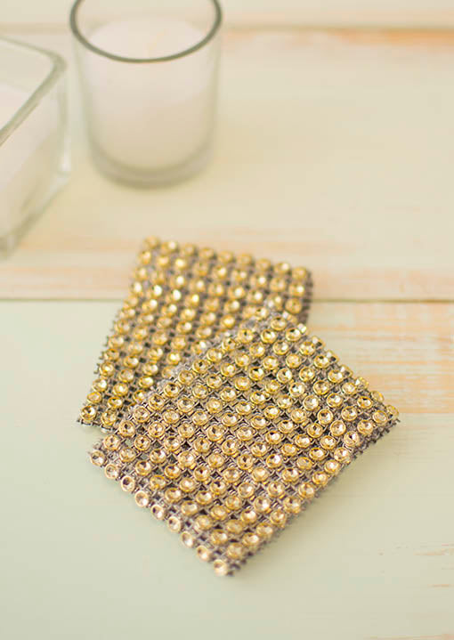 Gold Diamond Mesh Candle Embracers, Set of Two