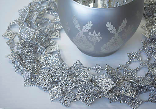 Silver Garland Chain, square tiles, 10 yards