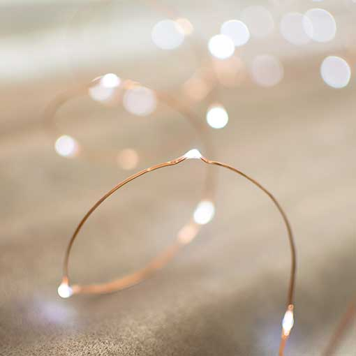 Each LED is about the size of a grain of rice and looks like a sparkling drop of water clinging to a fine copper wire.