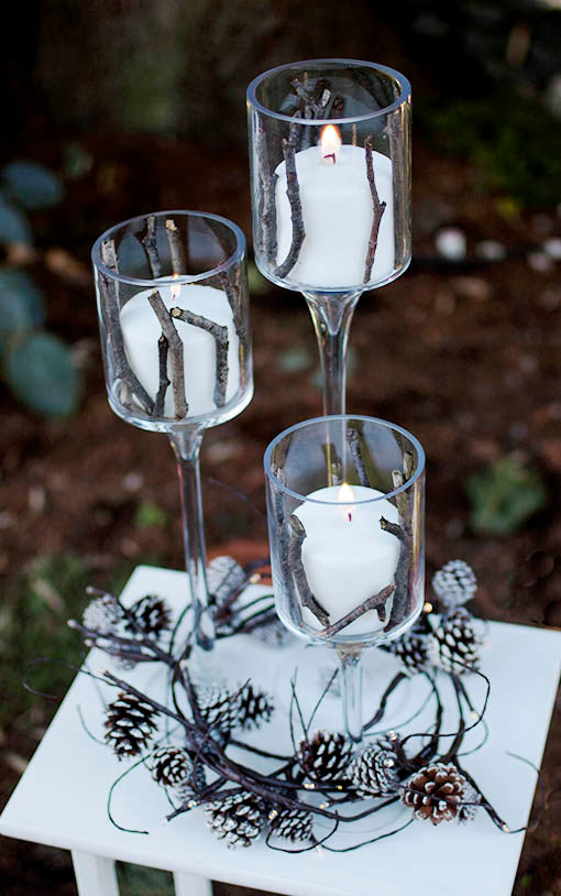 Three Piece Pedestal Candle Risers, Clear Glass