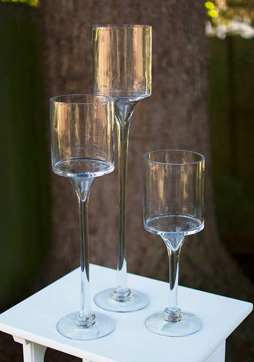 Glass Pedestal Candle Holders, Set of Three