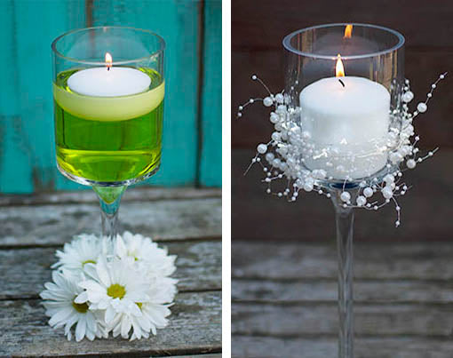 3 pc glass candle pedestals