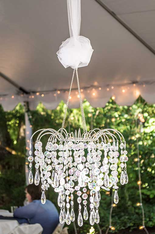 White Organza Ribbon and Waterfall Chandelier